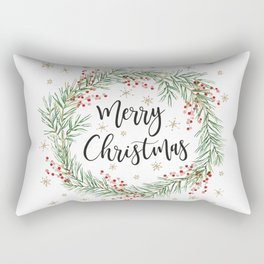 Merry Christmas wreath with red berries Rectangular Pillow