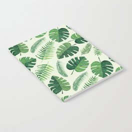 Monstera and palm leaves, green Notebook