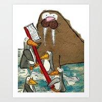 Walrus needs help brushing his teeth Art Print