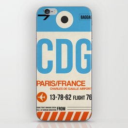CDG Paris Luggage Tag 2 iPhone Skin
