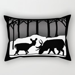 Snow Deer Rectangular Pillow