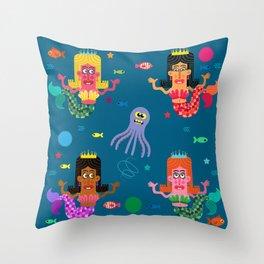 Mermaid Sisters Throw Pillow