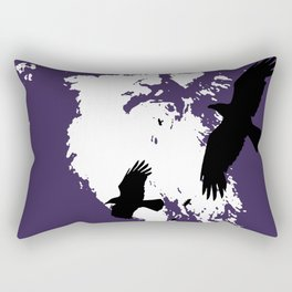 Odin Portrait and Silhouette of Ravens Vector Art Rectangular Pillow