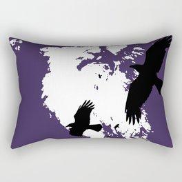 Odin Portrait and Silhouette of Ravens Vector Art Rectangular Pillow