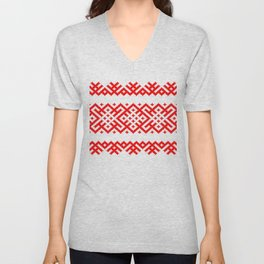 Ethno Slavic Pattern - Bogoroditsa - Symbol Horizontal - Large Scale - Red Ornament Unisex V-Neck