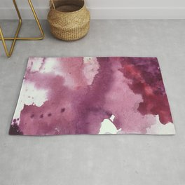 Blushing [2]: a minimal abstract watercolor and ink piece in shades of purple and red Rug
