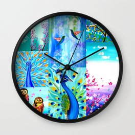 Aqua collage Wall Clock