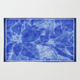 Poinsettias Outlined Dark Blue Rug