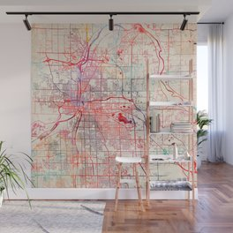 Grand Rapids map Michigan painting Wall Mural