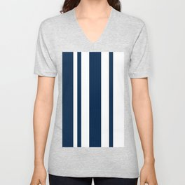 Mixed Vertical Stripes - White and Oxford Blue Unisex V-Neck