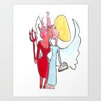 lesbian Art Prints featuring Angel/devil lesbian kiss by Nehalennia