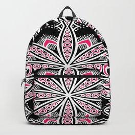 Black White Pink Flower Panel Art Backpack