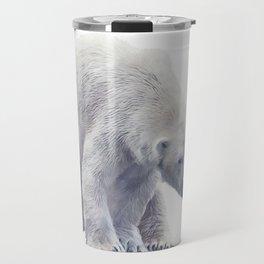 Digital painting of Large Polar bear  on white background. Travel Mug