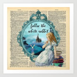 Follow The White Rabbit - Vintage Dictionary page Art Print