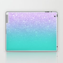 Modern mermaid lavender glitter turquoise ombre pattern Laptop & iPad Skin