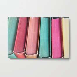 Colorful Vintage Book Spines Metal Print