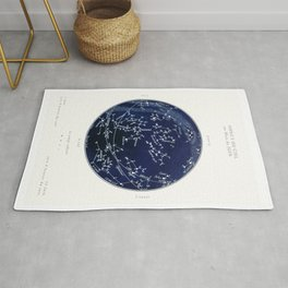 French June Star Map in Deep Navy & Black, Astronomy, Constellation, Celestial Rug