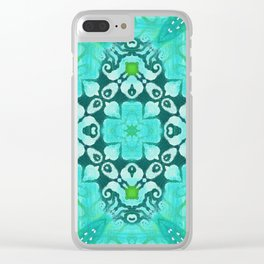 Tile Pattern in Turquoise Clear iPhone Case