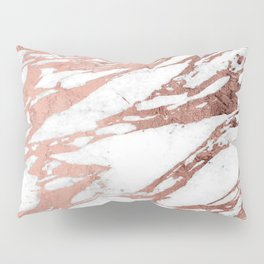 Rose Gold Faux Foil and White Marble Pattern Pillow Sham