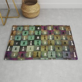 Paint and Print  Chessboard and Chess Pieces pattern Rug