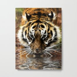 Tiger at the water's edge Metal Print