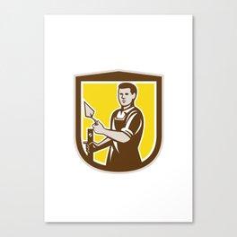 Mason Masonry Worker Trowel Shield Retro Canvas Print