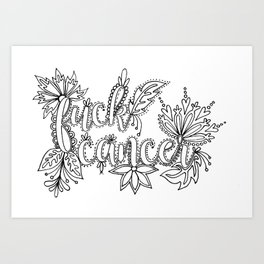 Fuck Cancer Adult Coloring, Sweary Adult Coloring Art Print