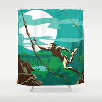 ape Shower Curtains featuring Ape Man by Tony Vazquez