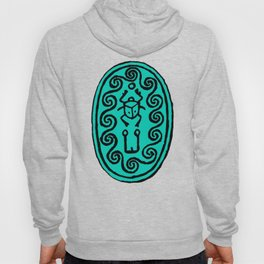 Ancient Egyptian Amulet Pattern Turquoise Blue Hoody