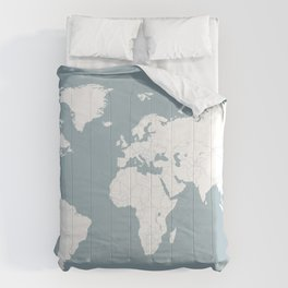 Minimalist World Map in Slate Blue Comforters