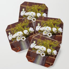 White gentians in rustic pitcher Coaster