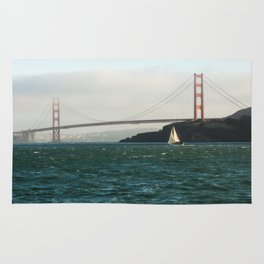 Sailing Under the Golden Gate Bridge Photography Print Rug