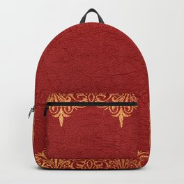 Red vintage leather gold lace frame Backpack