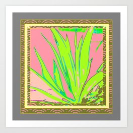 Chartreuse Plant Foliage Pink-Grey Patterns Art Print
