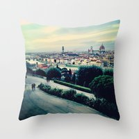 florence Throw Pillows featuring Florence by Rachel Weissman