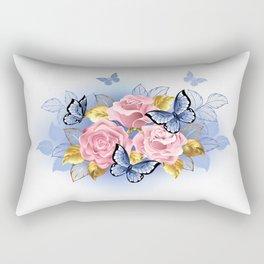 Three Pink Roses with Butterflies Rectangular Pillow
