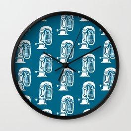 Tuba Pattern Peacock Blue Wall Clock