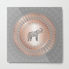 Rose Gold Gray Elephant Mandala Metal Print