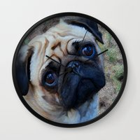pug Wall Clocks featuring Pug by Crayle Vanest