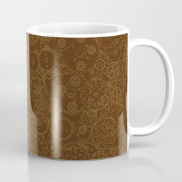 Clockwork Retro / Cogs and clockwork parts lineart pattern in brown and gold Coffee Mug