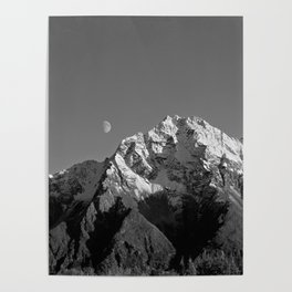 Moon Over Pioneer Peak B&W Poster