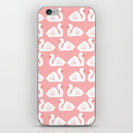 Swan minimal pattern print pink and white bird illustration swans nursery decor iPhone Skin