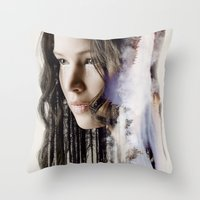 katniss Throw Pillows featuring katniss by phoebe-designs