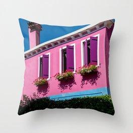 Pink, Burano Italy Throw Pillow