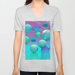 Ocean Dreams - Aqua and Indigo Ocean Universe Unisex V-Neck