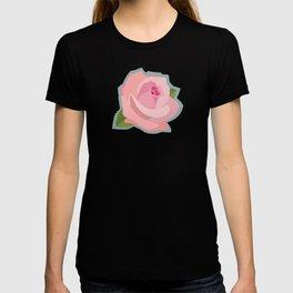 Pink Rose Illustration on Teal T-shirt