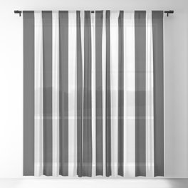 Thin Vertical Black and White Stripes Sheer Curtain