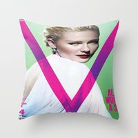 emily rickard Throw Pillows featuring Emily by Vincent Tham