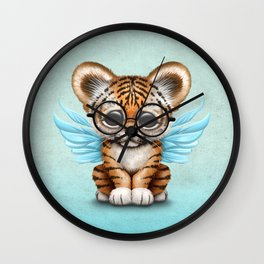 Tiger Cub with Fairy Wings Wearing Glasses on Blue Wall Clock