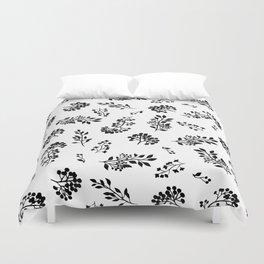 Black white abstract berries floral illustration Duvet Cover
